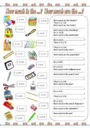 English Worksheet: How much is the ...? How much are the ...? (4)