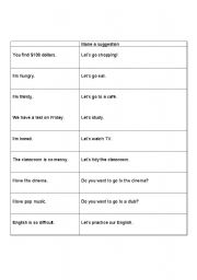 English Worksheets: Making A Suggestion Beginner/Elementary