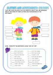 English Worksheet: Clothes + colours + his/her
