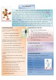 English Worksheet: Tiny Robots