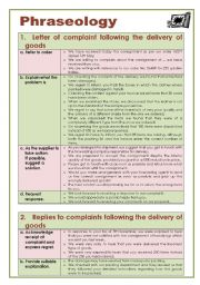 English Worksheet: Business English: Letter of complaint following the delivery of goods (Phraseology)