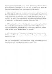 English Worksheets: Michael Jackson Information Gap