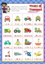English Worksheet: Means of Transport   -  Completing the Pictionary with the Missing Vowels