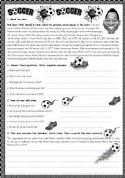 English Worksheet: LET�S TALK ABOUT PEL� - A FAMOUS SOCCER PLAYER