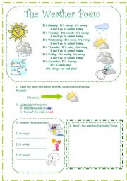 English Worksheet: The weather: poem and activities