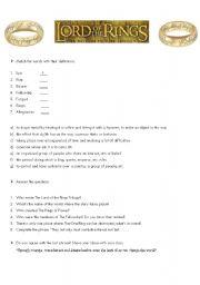 Lord of the Rings Reading WORKSHEET - ESL worksheet by Ratu