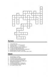 English Worksheet: The Wheels on the bus Crossword Puzzle