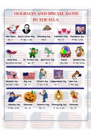 English Worksheet: Holidays and Special Dates in the U.S.A. - Pictionary