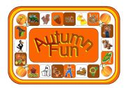 English Worksheet: Autumn Fun Game Board (with Clip-Art, Greyscale Version Included)(Part 2 of a Set of 4 Seasons Games)