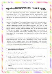 English Worksheet: Reading Comprehension: Hong Kong (1)