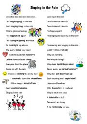 English Worksheet: Singing in the Rain with opposites and similar words worksheets.