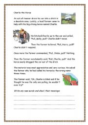 English Worksheet: Charlie the Horse Joke