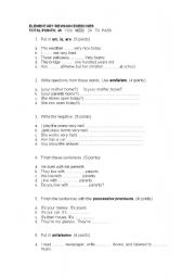 English Worksheets: Elementary revision exercises