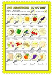 English Worksheet: FOOD: INDEFINITE ARTICLE + SOME