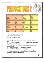 English Worksheet: 19 pages of Prepositions after verbs and adjectives