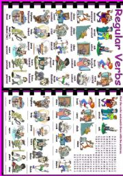 English Worksheet: Regular Verbs (1/2)