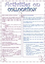 English Worksheet: Collocation: few, a few, little, a little, quite and rather