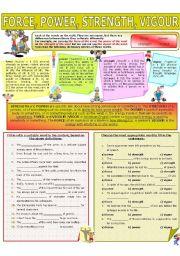 English Worksheet: COLLOCATION 33 - FORCE, POWER, STRENGTH, VIGOUR