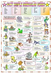 English Worksheet: PAST SIMPLE OF IRREGULAR VERBS (B&W VERSION INCLUDED)