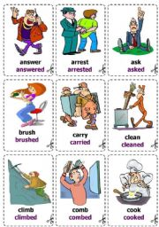 English Worksheet: Regular verbs - Cards / Flash-cards