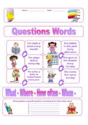 worksheet: Simple Present. Wh Questions
