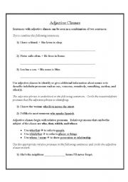 English Worksheet: Adjective (Relative) Clauses