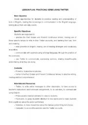 English Worksheet: PRACTICING VERBS USING TWITTER