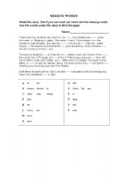 English Worksheets: Missing Words