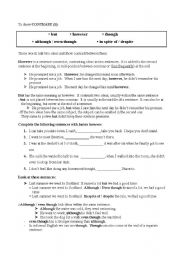 English Worksheets: To show contrast