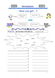 English Worksheet: Have you got...? - -> 5 Pages of exercises.