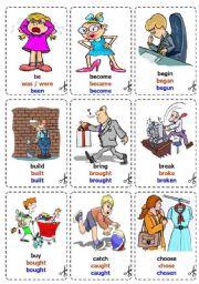 English Worksheets: Irregular Verbs - Cards / flash-cards