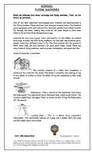 english worksheets flying machines sciene leonardo s inventions. Black Bedroom Furniture Sets. Home Design Ideas