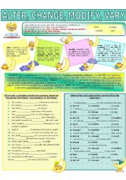 English Worksheet: COLLOCATION 36 - ALTER, CHANGE, MODIFY, VARY