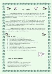 English Worksheets: Cows and Greenhouse effect