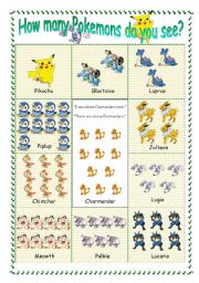 English Worksheet: Practice of counting with Pokemon
