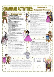 English Worksheet: REFLEXIVE AND RECIPROCAL PRONOUNS - GRAMMAR REFERENCE AND ACTIVITIES