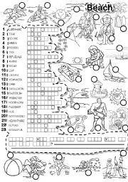 English Worksheet: BEACH PUZZLE and LETTER TILES