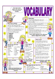 English Worksheet: ´RECYCLING VOCABULARY´ - TOPIC: THE SCHOOL - THE CLASSROOM - SCHOOL SUBJECTS AND EXTRA CURRICULAR ACTIVITIES - Elementary & up.