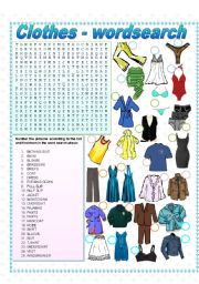 Clothes - Wordsearch & Matching
