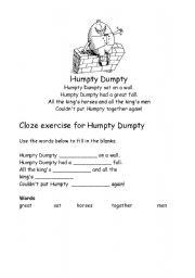 English Worksheets: Humpty Dumpty Cloze Activity