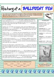 English Worksheets: History of a ballpoint pen (biro)