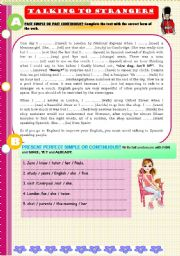 English Worksheets: Talking to strangers. Diary of a student in London