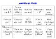 English worksheet: Question Answer Conversation Bingo