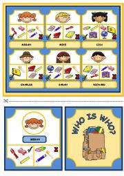 English Worksheet: WHO IS WHO? GAME - CLASSROOM OBJECTS AND HAVE GOT (part 1)