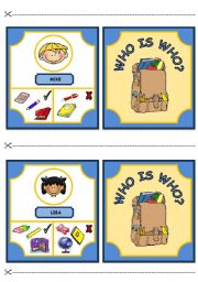 English Worksheet: WHO IS WHO? GAME - CLASSROOM OBJECTS AND HAVE GOT (part 2)