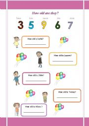English Worksheets: how old are they