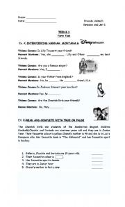 English Worksheet: Test of Hannah Montana