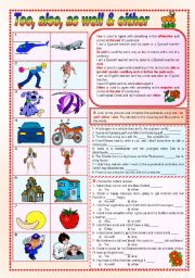 English Worksheets: Too, also, as well and either