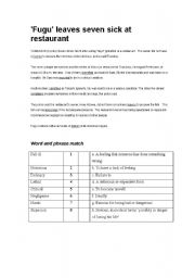 English Worksheets: Pufferfish poisoning
