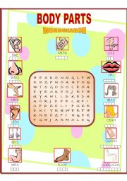 English Worksheets: Body Parts Wordsearch